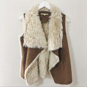 Gianni Bini faux fur + faux suede vest XS